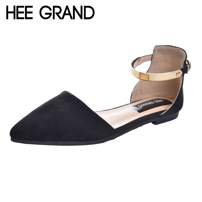 HEE GRAND Sandals Top Krean Style Ankle Strap Fashion Flat with Women's Shoes Pointed Toe Sandals Plus Size 34-42 XWZ2124