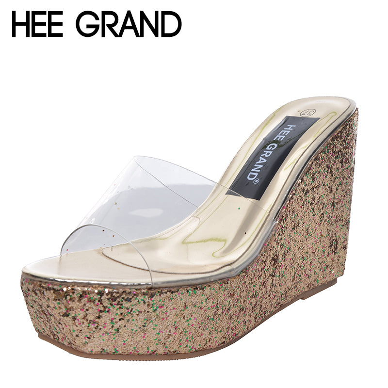 HEE GRAND High Heel Wedge Platform Slippers Woman Summer Slides Fashion Glitter Sole Transparent Upper Shoes Woman  34-40 XWT430