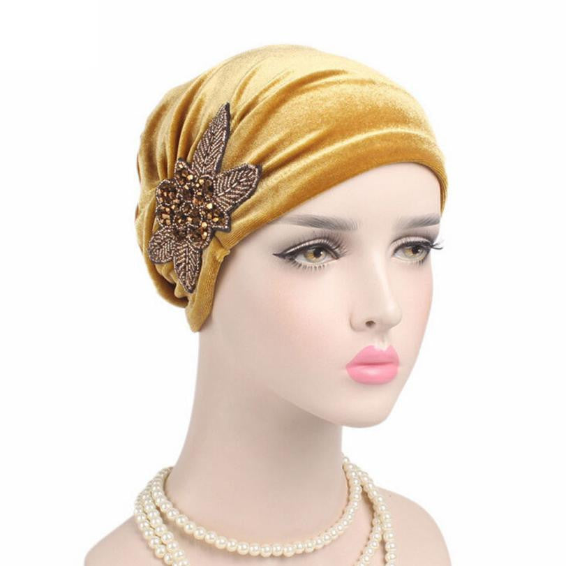 Hot Sale Women Hat Beanie Turban Head Wrap Bow Cap hats for women Velvet Autumn Winter Skullies