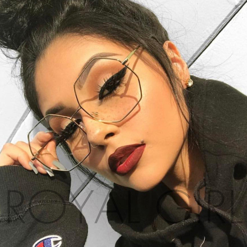 ROYAL GIRL 2017 New High Quality Big Frame Sunglasses Women Brand Designer Hexxagon Gradient Color Glasses UV400 ss255
