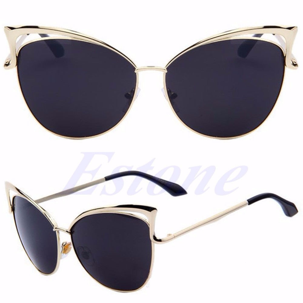 Women High Quality Retro Cat Eye Female Sunglasses Gold Metal Oculos de sol Reflective Summer Sun Glasses Vintage Sexy Shades