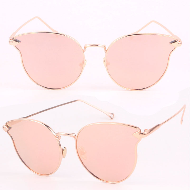 New Cat Eye Sunglasses Women Brand Designer Fashion TwinBeams Rose Gold Mirror Cateye Sun Glasses For Female UV400 gafas de sol