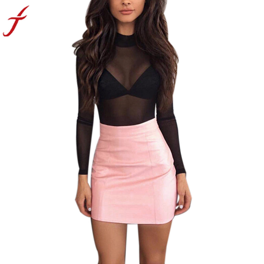 Women Sexy Bandge leather skirt High Waist Pencil Bodycon Hip Short A-Line Skirt  bodycon short skirts womens