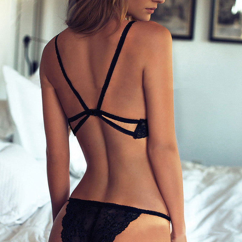 Women Sexy Lingerie Bra and Panty Set Black Lace Underwear