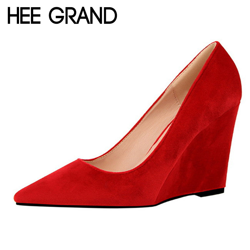 HEE GRAND 2018 Spring New Women Pumps Pointed Toe Flock Leather Wedge 10cm Heel Party Women's Heels 6 Colors Shoes WXG513