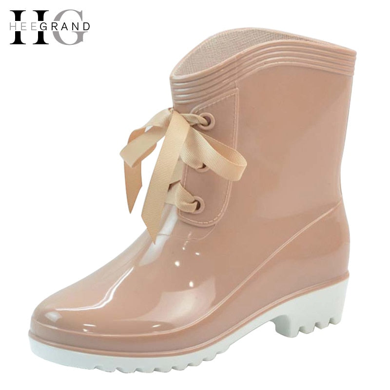 HEE GRAND Winter Rain Boots Rubber Women Ankle Boots Casual Platform Shoes Woman Lace-Up Flats Women Shoes Size 36-40 XWX4489
