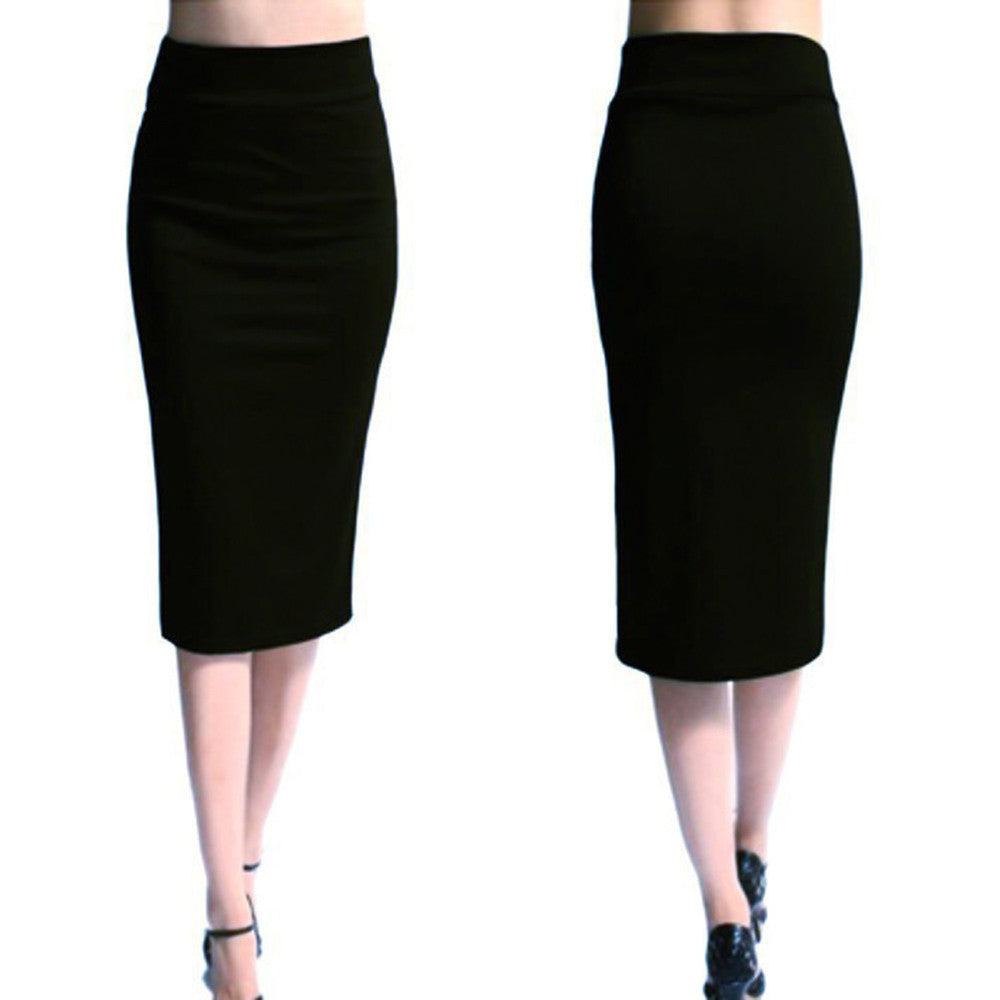 Women Solid High Waist Skinny Stretchy Skinny Slim Knee-Length Pencil Skirts
