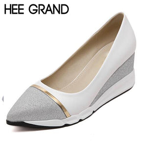 HEE GRAND Women's Wedges Pumps Women Slip-on Shoes Pointed Toe Woman Solid Shoes Slip-on Ladies Shoes 34-39 XWD6440