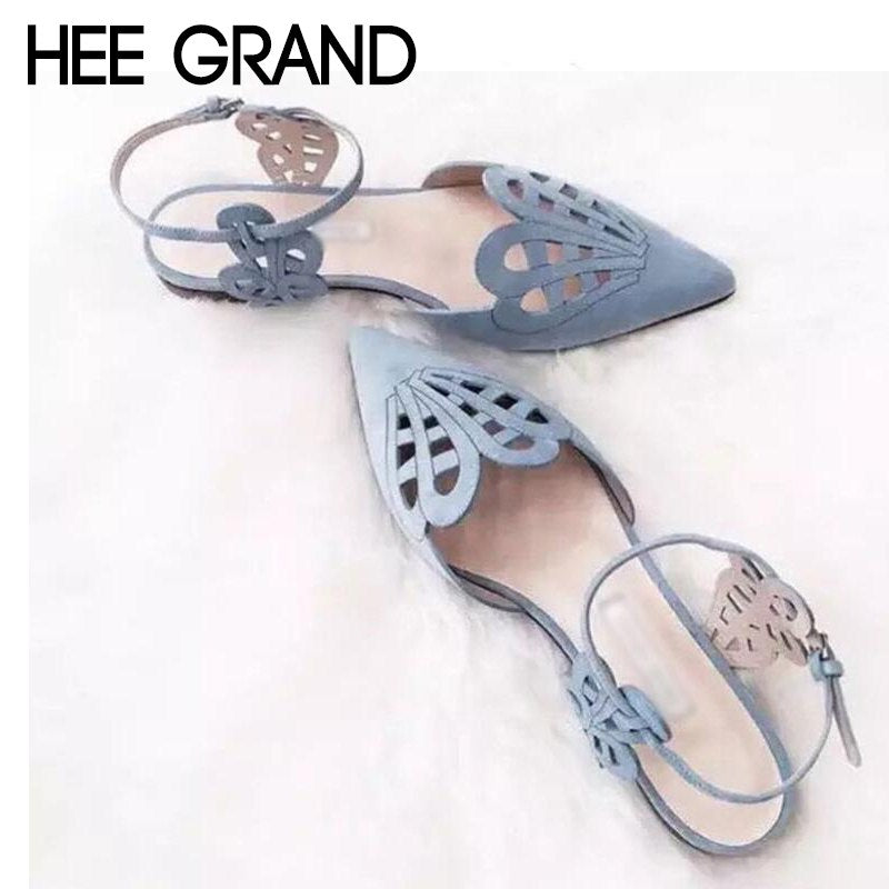 HEE GRAND European 2018 New Summer Women Flats Bottom Female Hollow Pointed Toe Shoes Sandals Fashion Mujer Shoes XWZ4815