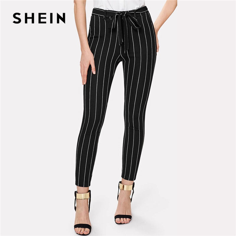 SHEIN Office Vertical Striped Skinny Pants Women Elastic Waist Belted Bow Tapered Trousers Spring New Elegant Workwear Pants