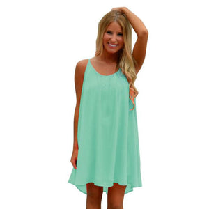 Fashion Women Spaghetti Strap Back Howllow Out Summer Chiffon Beach Short Dress