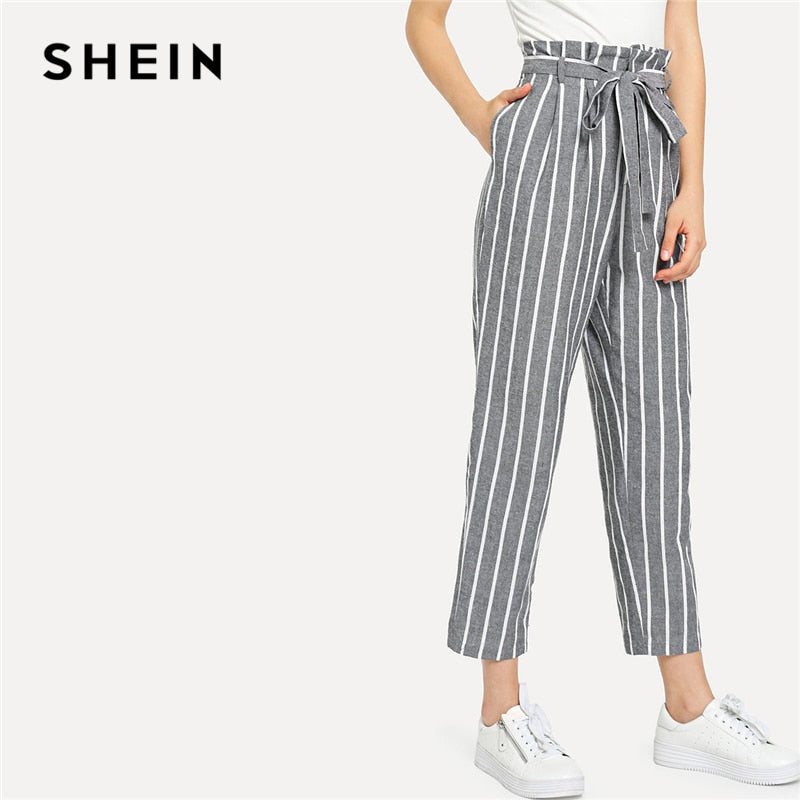 9a0e1eba459 SHEIN Grey Vacation Boho Bohemian Beach Self Belted Striped Tapered High  Waist Pants Summer Women Weekend