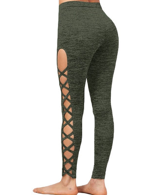 New Women Sexy Pencil Pants Leggings Hollow Out  High Waist  Fitness Workout Running Leggings Female Elastic Trousers