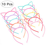 FRCOLOR 10pcs Cat Ear Headband Plastic Cat Hairband Cat Bow Hairbands Makeup Party Headwear for Women Girls