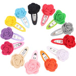 12pcs Baby Girls Rose Hair Clip Flower Colorful Hairpin Barretes Beauty Accessories