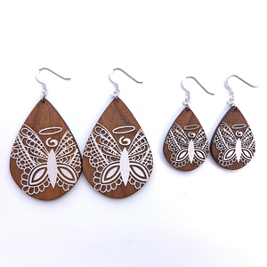NILMDTS Logo Angel Butterfly Wood Earrings