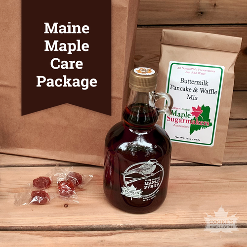 Cooke's Maple Farm Maine Maple Care Package with syrup and pancake mix.