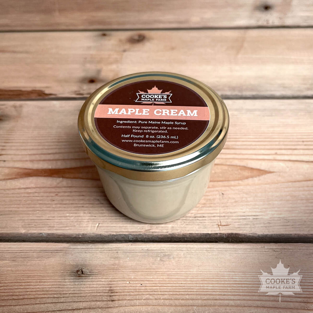 Maine maple cream from Cooke's Maple Farm. Pure Maine maple syrup that is whipped into a spreadable cream.