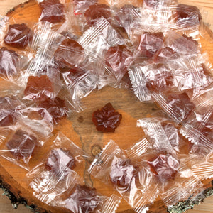 Maple drops, individually wrapped hard candy made from maple syrup.