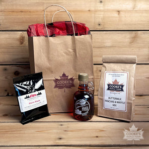Cooke's Maine Maple Gift Bag with syrup, pancake/waffle mix, coffee,