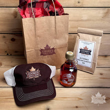 Load image into Gallery viewer, Maple Classics Gift Bag - 8.45oz Syrup, Pancake and Waffle Mix, Vintage Trucker Hat, Maple Drops