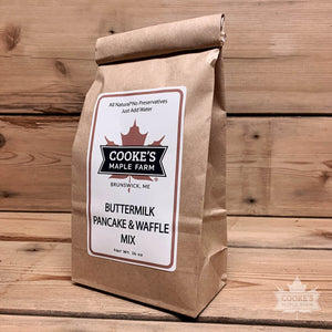 Buttermilk pancake and waffle mix made in Maine and sold by Cooke's Maple Farm