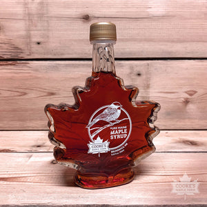 Cooke's Maple Farm Maine Maple Syrup 8,45 oz glass leaf bottle.