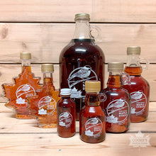Load image into Gallery viewer, Cooke's Maple Farm Maine Maple Syrup family of glass bottle products.
