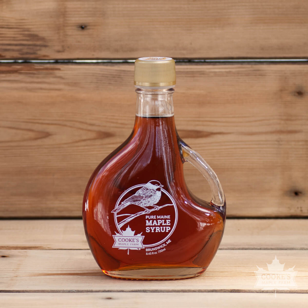 Maine maple syrup from Cooke's Maple Farm in Brunswick, ME.