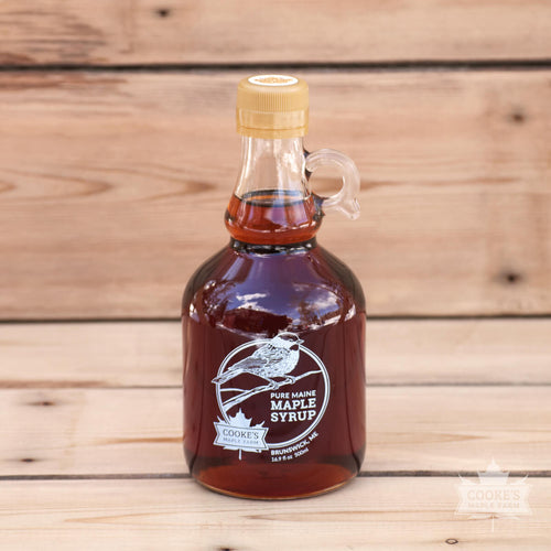 Maine maple syrup from Cooke's Maple Farm in Brunswick, ME. 16.9oz glass jug