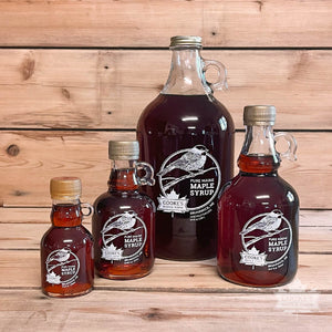 Cooke's Maple Farm Maine Maple Syrup glass bottle jug family of products.