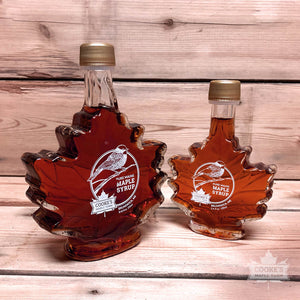 Cooke's Maple Farm Maine Maple Syrup comparison 8.45oz to 3.4oz glass leaf bottle.