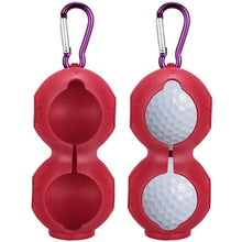 Load image into Gallery viewer, Golf Ball Holder Soft Silicone Clip 2 Pack with Cleaner Pouch Pocket Red