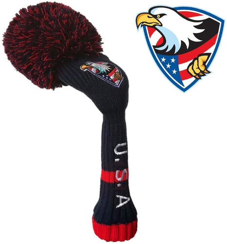 Golf Head Covers Pom Pom for Woods Driver Hybrids Fairway Pack, Vintage Knit 1 3 4 5 7 X Headcovers - fingertensport