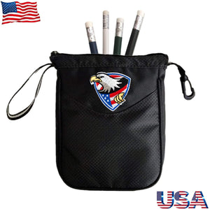 Golf Pouch Bag Valuables Tee Clip Zipper Hook, with Free 4 Pcs Golf Pencil Value Pack - fingertensport