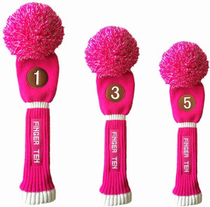 Pom Pom Golf Club Head Covers Knit Value 3 pack for Driver Fairway Hybrid Wood, Vintage Black Blue Pink 1 3 5 Men Women Set