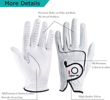 Load image into Gallery viewer, FINGER TEN Men Golf Gloves All Weather Leather Grip 1 Pack Left/Right fingertensport