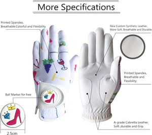 Golf Gloves Women Left Hand Right Leather with Ball Marker Hat Clip Value Pack 1 pair, Women Ladies Fashion All Weather Grip, Fit Size Small Medium Large