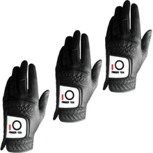 Load image into Gallery viewer, Mens Golf Glove 3 Pack Black White Color Left Hand Fit Right Handed Golfer All Weather Durable Grip Rain Grip