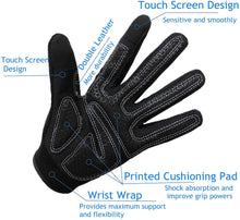 Load image into Gallery viewer, Full Finger Workout Gloves Touchscreen for Men Women with Padding, Full Hand Gym Exercise Weight Lifting Gloves Male Female, Non Slip Fitness Gloves Extra Grip for Cycling Climbing Hiking Outdoor Gloves one Pair