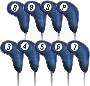 Golf Head Covers for Iron Club 9 Packs Set, Red Black Blue 3 Color Synthetic Leather with Magnetic