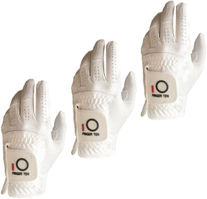Mens Golf Glove 3 Pack Black White Color Left Hand Fit Right Handed Golfer All Weather Durable Grip Rain Grip