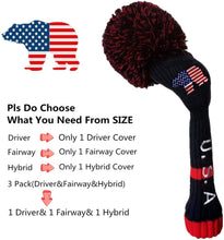 Load image into Gallery viewer, Pom Pom Golf Club Head Covers Knit Value 3 pack for Driver Fairway Hybrid Wood, Vintage Black Blue Pink 1 3 5 Men Women Set