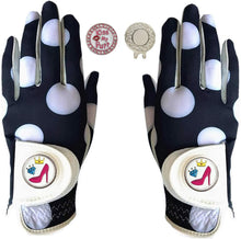 Load image into Gallery viewer, Golf Gloves Women Left Hand Right Leather with Ball Marker Hat Clip Value Pack 1 pair, Women Ladies Fashion All Weather Grip, Fit Size Small Medium Large