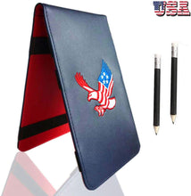 Load image into Gallery viewer, Golf Scorecard Holder Leather Yardage Books Cover USA Star Eagle with 2 Free Pencil Value Pack, Deluxe Pocket Score Card - fingertensport