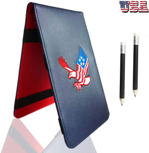 Golf Scorecard Holder Leather Yardage Books Cover USA Star Eagle with 2 Free Pencil Value Pack, Deluxe Pocket Score Card - fingertensport