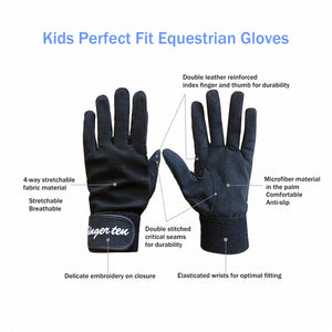 Kids Horse Riding Gloves 1 Pair Gripfast Breathable Glove - fingertensport