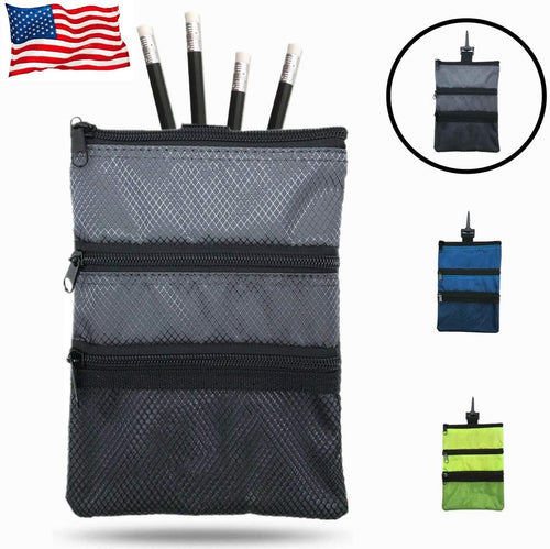 Golf Pouch Bag for Valuables Tee Color with 4 Free Golf Pencil Pack - fingertensport