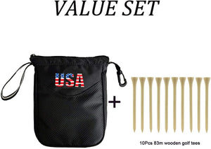 Golf Pouch Bag Multi Pocket Clip Zipper Hook to Bag, with 10 Pcs Wooden Golf Tees Value Set, Durable Nylon Valuables Holder - fingertensport
