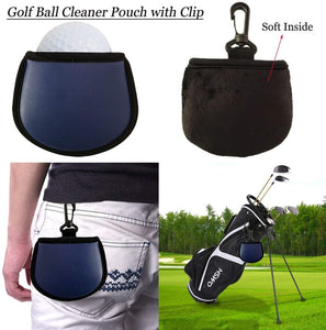 Golf Ball Holder Soft Silicone Clip 2 Pack with Cleaner Pouch Pocket Red - fingertensport